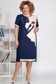 Платье Ivelta plus 1680 синий с молочным