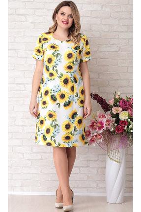 Платье Aira Style 685 молочный с желтым
