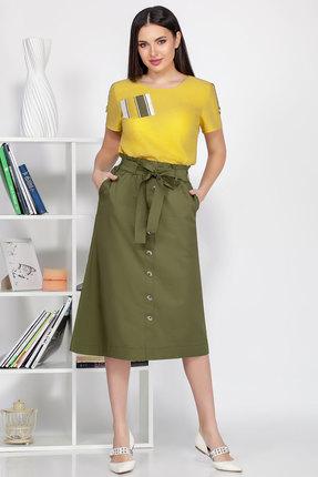 Комплект юбочный Ivelta plus 2492 желтый с зеленым фото