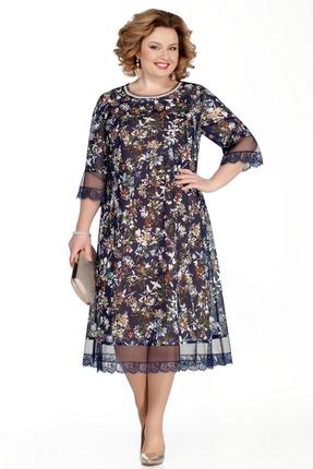 Платье Pretty 1031 синий с бежевым фото