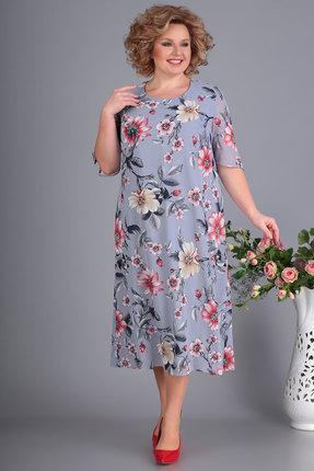 Платье Algranda 3504 серый с розовым фото