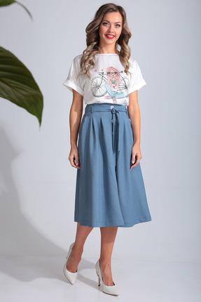 Комплект юбочный SandyNa 13694 светло-голубой с белым фото
