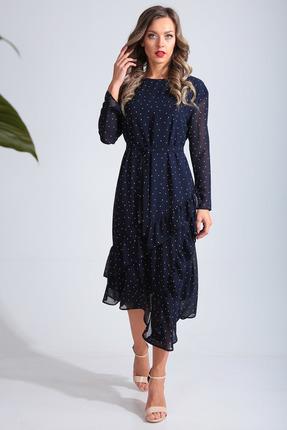 Платье SandyNa 13675 темно-синий в горох фото