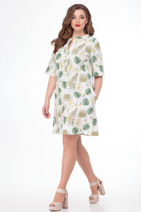 Платье Anelli 697 молочный с зеленым