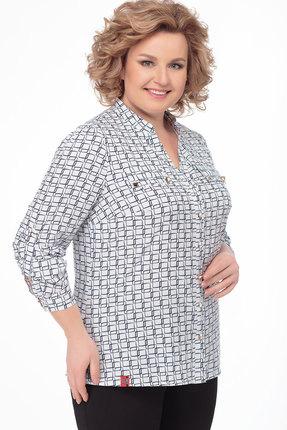 Блузка AVLINE 1754 белый с синим фото