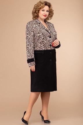 Кардиган Svetlana Style 1314 черный с леопардовым фото