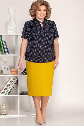 Комплект юбочный Ivelta plus 2493 синий с желтым фото