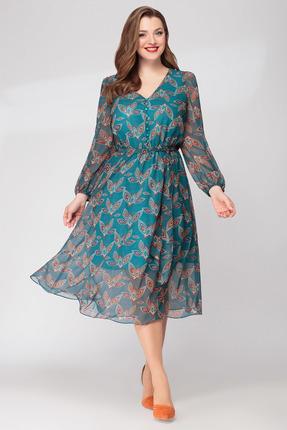 Платье Denissa Fashion 1294-1 бирюзовые тона фото