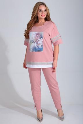 Комплект брючный Диамант 1428 розовый фото