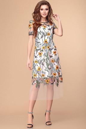 Платье Romanovich style 1-1970 молочный с оранжевым