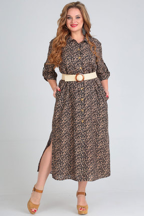 Платье Andrea Style 00257 синий с розовым фото
