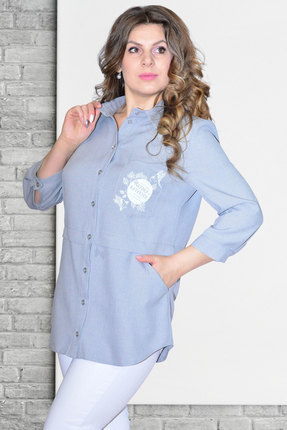 Рубашка Needle Ревертекс 370/14 серо-голубой