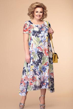 Платье Romanovich style 1-1332 молочный с синим и красным