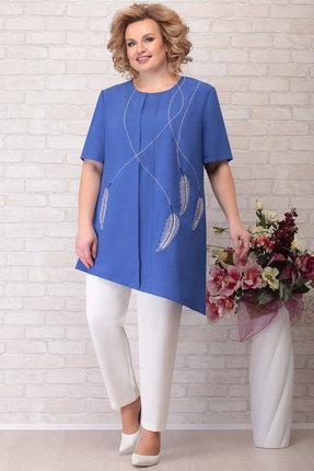 Комплект брючный Aira Style 749 синий с белым