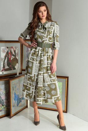 Платье Axxa 55122а оливковые тона