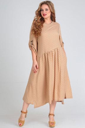 Платье Andrea Style 00262 бежевые тона