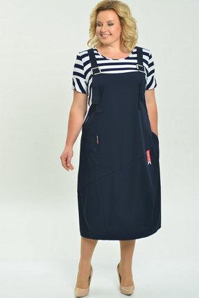 Платье Elga 01-607 тёмно-синий+полоска