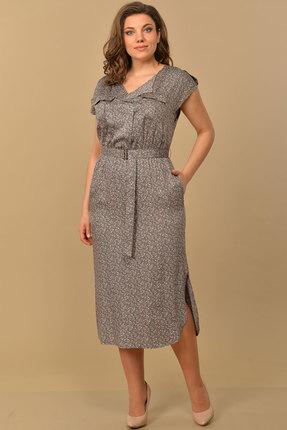 Платье Lady Style Classic 1631 графитовый с цветами