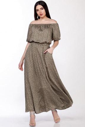 Платье LaKona 1307 хаки с цветами