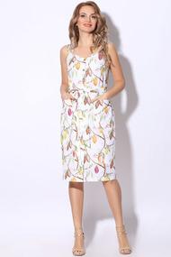 Платье LeNata 11111 какао на белом