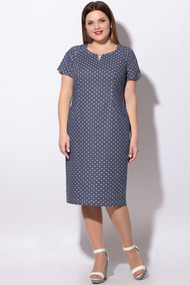 Платье LeNata 11129 темно-синий в горох