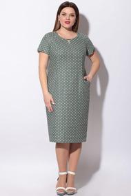 Платье LeNata 11129 зеленый в горох