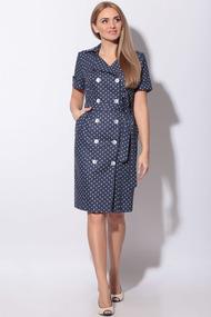 Платье LeNata 11015 темно-синий в горох