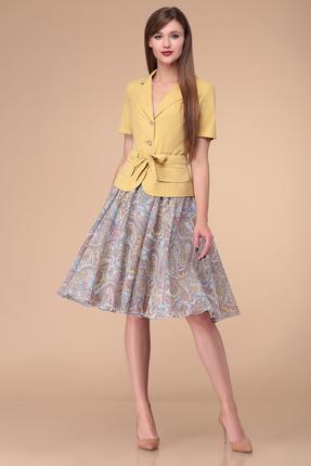 Комплект юбочный Verita Moda 1177 голубой с желтым фото