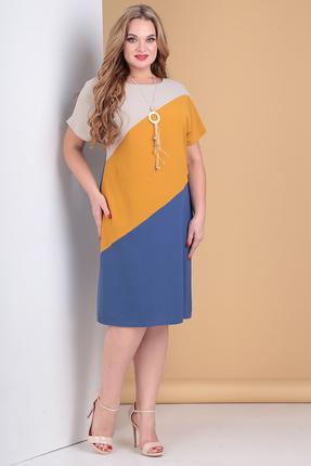Платье Moda-Versal 2161 синий с желтым фото