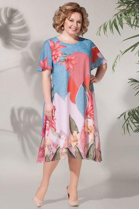 Платье БагираАнТа 619 голубой с розовым фото