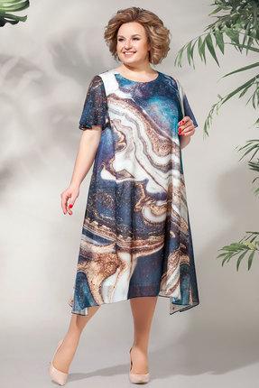 Платье БагираАнТа 619 синий с бежевым фото