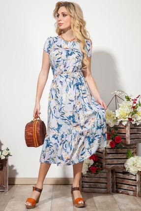 Платье DilanaVIP 1532 голубой с цветами фото
