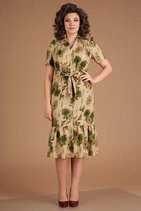 Платье Мода-Юрс 2543 бежевый с зеленым