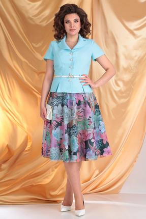 Комплект юбочный Мода-Юрс 2103 мята+цветы фото