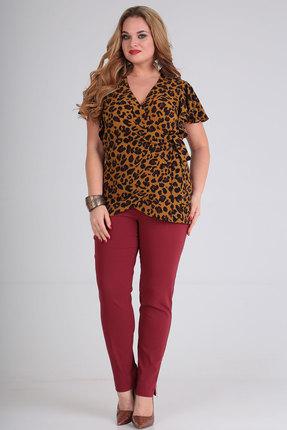 Комплект брючный Viola Style 20539 бордо с коричневым фото