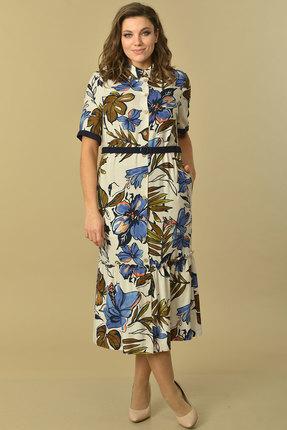 Платье Lady Style Classic 2088 бежевый с цветами