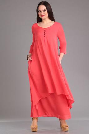 Платье FoxyFox 1908 коралловый с розовым