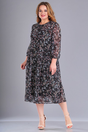 Платье FoxyFox 193 черный в цветы