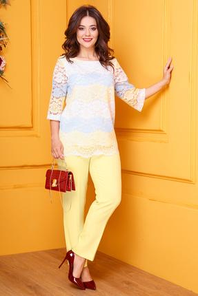 Комплект брючный Anastasia 422 желтый с голубым фото