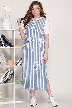 Платье Ivelta plus 1637 синий с молочным фото