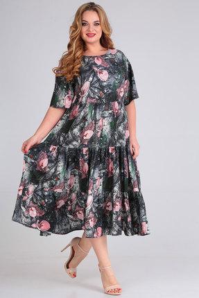 Платье Andrea Style 00271 серый с розовым фото