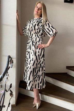 Платье Faufilure с1037 молочный с черным фото