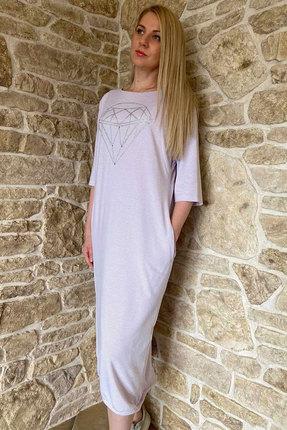 Платье Faufilure с1098 молочные тона с фиолетовым фото