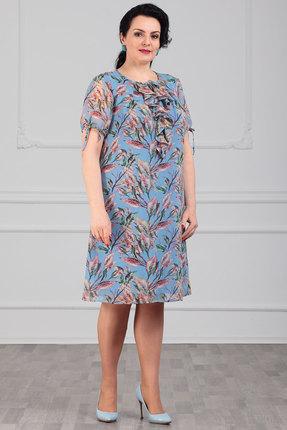Платье Мадам Рита 5090 голубой с цветами