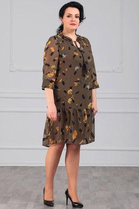 Платье Мадам Рита 5001 хаки с цветами