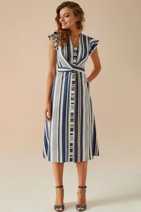 Платье Andrea Fashion AF-3 синий с молочным