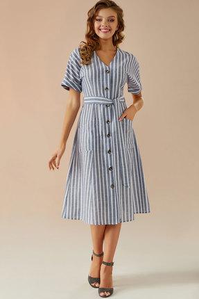 Платье Andrea Fashion AF-6 синий с белым