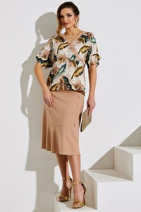 Комплект юбочный Lissana 4004 бежевый с цветами