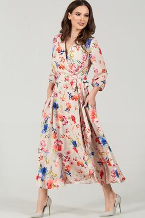 Платье Teffi style 1483 бежевые тона