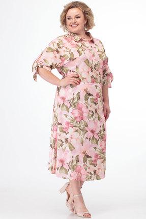 Платье Anelli 670 молочный с розовым